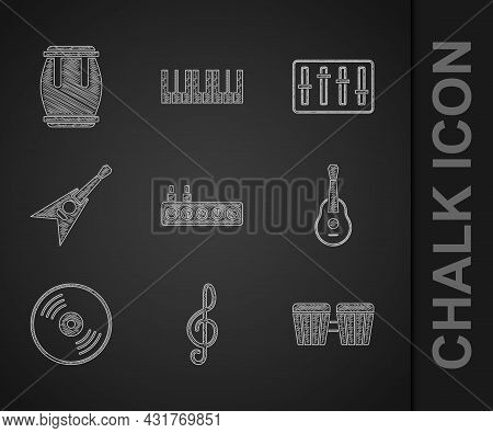 Set Sound Mixer Controller, Treble Clef, Drum, Guitar, Vinyl Disk, Electric Bass Guitar, And Icon. V