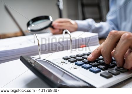 Fraud Investigation Tax Auditor Inspecting Business Invoice