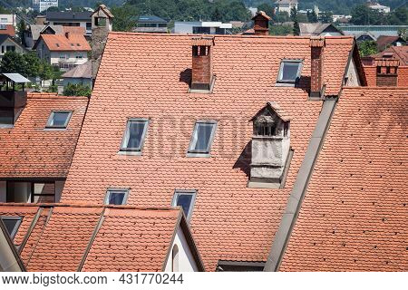 Close Up On A Recently Renovated Roof Of Central Europe, On An Old Residential House Building, With