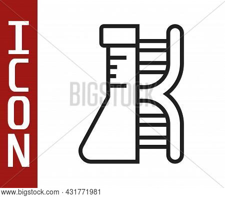 Black Line Dna Research, Search Icon Isolated On White Background. Genetic Engineering, Genetics Tes