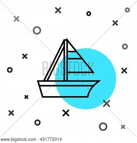 Black Line Yacht Sailboat Or Sailing Ship Icon Isolated On White Background. Sail Boat Marine Cruise