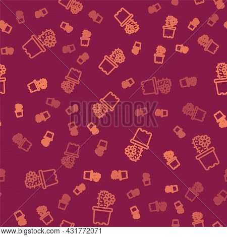 Brown Line Cactus Peyote In Pot Icon Isolated Seamless Pattern On Red Background. Plant Growing In A