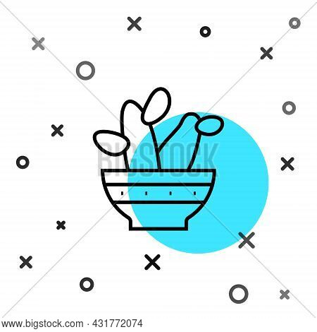 Black Line Cactus Peyote In Pot Icon Isolated On White Background. Plant Growing In A Pot. Potted Pl