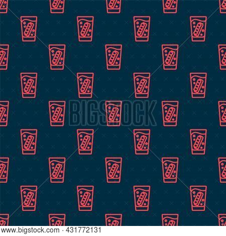 Red Line False Jaw In Glass Icon Isolated Seamless Pattern On Black Background. Dental Jaw Or Dentur