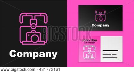 Pink Line Gimbal Stabilizer With Dslr Camera Icon Isolated On Black Background. Logo Design Template