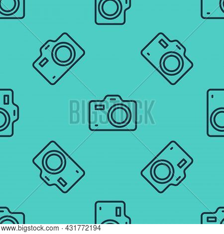 Black Line Photo Camera Icon Isolated Seamless Pattern On Green Background. Foto Camera. Digital Pho