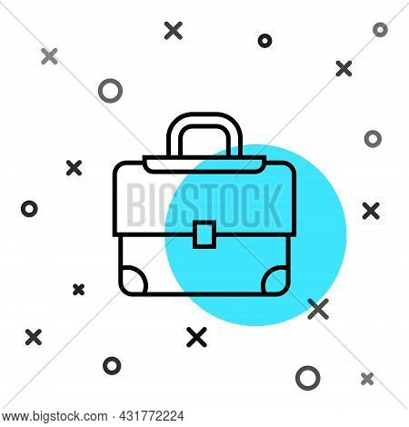 Black Line Briefcase Icon Isolated On White Background. Business Case Sign. Business Portfolio. Rand