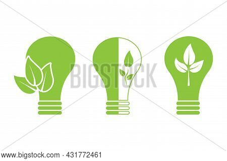 Green Bio Lamp Set. Save Nature. Clean Energy. Ecology Concept. Reuse Logo Icon. Vector Illustration