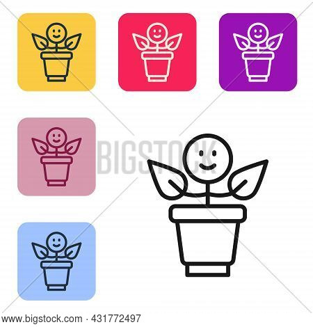 Black Line Bff Or Best Friends Forever Icon Isolated On White Background. Set Icons In Color Square