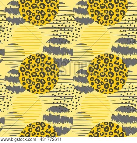 Trendy Vector Geometric Seamless Pattern With Leopard Print And Circles. Abstract Modern Texturesfor