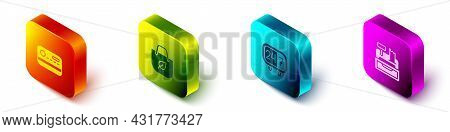 Set Isometric Credit Card, Shopping Bag With Recycle, Clock 24 Hours And Cash Register Machine Icon.