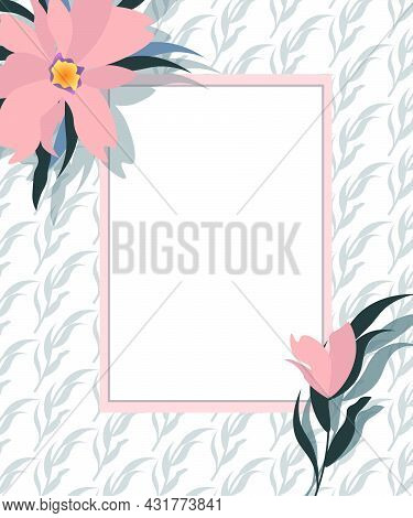 Card Template For Invitations And Congratulations. Pink Magnolia Flowers And Frame For Text. Vector