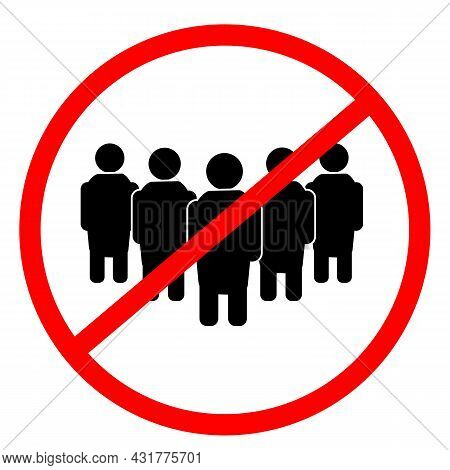 Social Distancing On White Background. Avoid Crowds Sign. Prohibition Sign For Quarantine Symbol. No