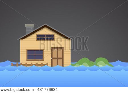 Flood Natural Disaster With House, Heavy Rain And Storm , Damage With Home, Clouds And Rain, Floodin