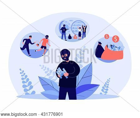 Robber Getting Money By Illegal Means. Flat Vector Illustration. Masked Man Counting Money, Robbing