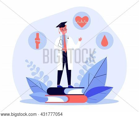 Medical University Graduate Flat Vector Illustration. Young Doctor With Knowledge Of Circulation, Jo