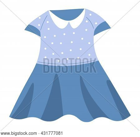 Girls Dress With Collar And Dots, Child Clothes