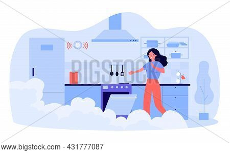Frightened Woman Opening Oven In Smoky Kitchen. Flat Vector Illustration. Girl Spoiling Dinner, Forg