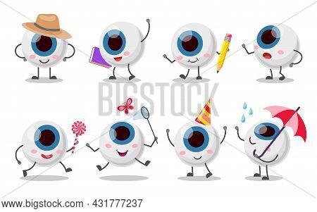 Set Of Cute, Funny Eyeball Character. Cartoon Vector Illustration. Human Organ Of Vision In Various