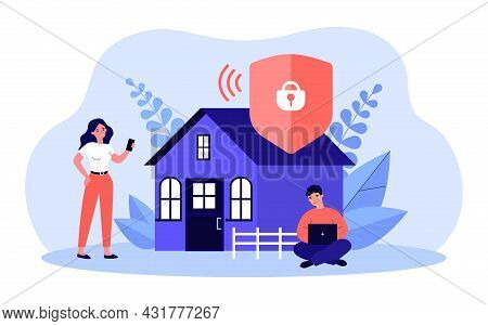 Protected Access To Wi-fi Network Flat Vector Illustration. Man And Woman In Background Of House, Us