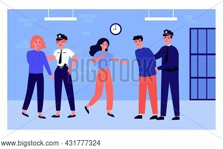 Police Officers, Man And Girls At Police Station. Flat Vector Illustration..law Enforcement Official