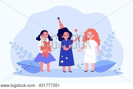 Three Little Girlfriends And Magical Fulfillment Of Dreams. Flat Vector Illustration. Sorceress Girl