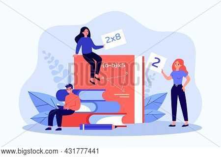 Young People Studying Mathematics Flat Vector Illustration. Tiny Women And Man Sitting On Giant Book