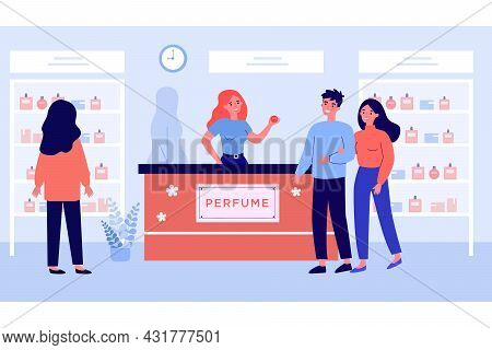 People Shopping At Perfume Store Flat Vector Illustration. Young Girl Looking At Showcase While Happ