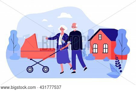 Grandparents Walking With Stroller In Courtyard Of House. Flat Vector Illustration. Elderly Man And