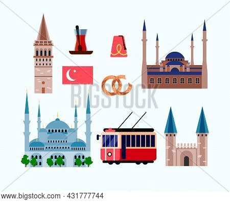Landmarks Of Turkey Flat Vector Illustrations Set. Mosque For Muslims In Istanbul, Turkish Temple An