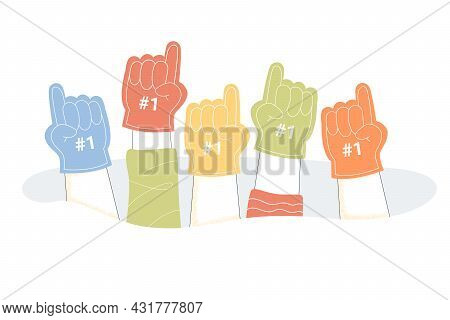 Hands Of People Wearing Number One Fan Foam Fingers. Supporters Cheering For Team During Sports Comp