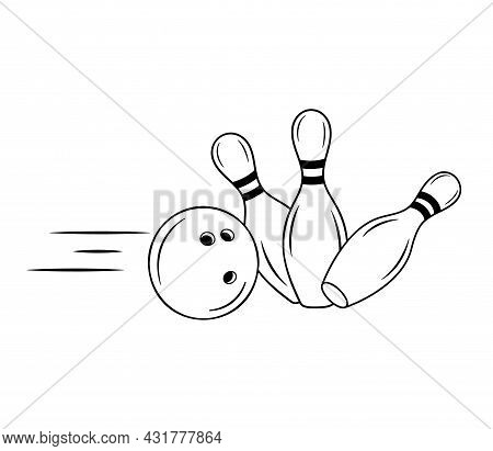 Bowling Pins With Ball Sport Icon. Simple Outline Skittles With Ball. Logo Game Template For Bowling