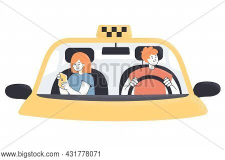 Taxi Cab Driver And Female Passenger Behind Windscreen. Male Cartoon Character Driving Female To Wor