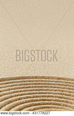 Pattern In Japanese Zen Garden With Close Up Concentric Circles On Sand For Meditation And Tranquili