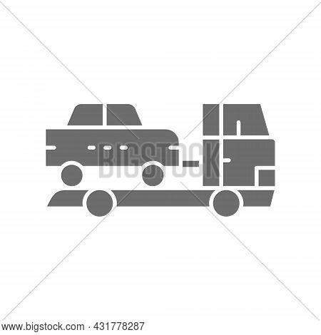 Tow Truck, Car Evacuation Grey Icon. Isolated On White Background