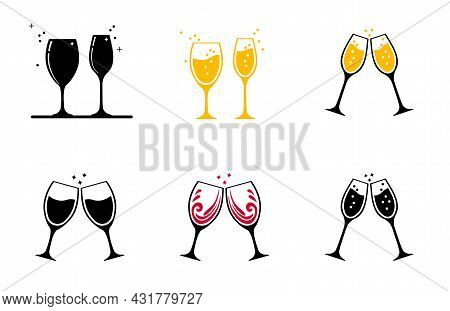 Set Icon. Two Glasses Of Wine Or Other Alcohol. Glasses Clink Together.