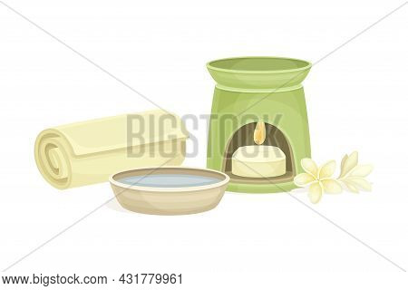 Spa And Aromatherapy With Burning Candle And Rolled Towel Vector Composition