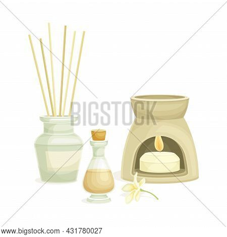 Spa And Aromatherapy With Burning Candle And Essential Oil Vector Composition