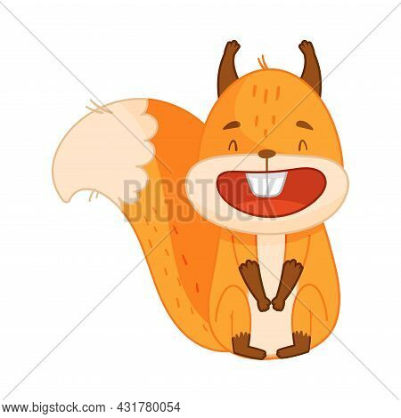 Funny Orange Squirrel Character With Bushy Tail Sitting And Laughing Vector Illustration
