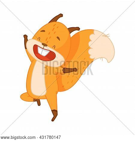 Funny Orange Squirrel Character With Bushy Tail Jumping With Joy Vector Illustration