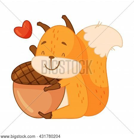 Funny Orange Squirrel Character With Bushy Tail Embracing Acorn Feeling Love Vector Illustration