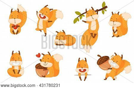Funny Orange Squirrel Character With Bushy Tail Cuddling And Embracing Acorn Vector Set