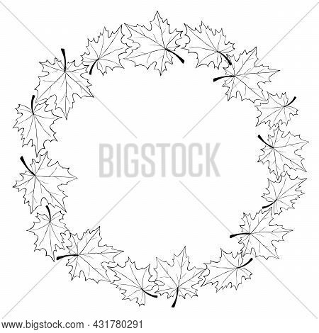 Vector Wreath Of Contour Maple Leaves. Round Frame In Doodle Style. Black Outline On White Backgroun