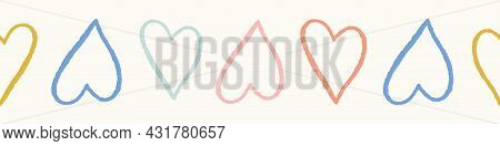Heart Pattern Border Design. Seamless Vector Repeat Background Banner Of Colourful Outlined Cute Lov