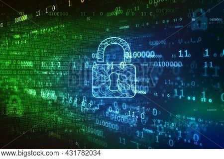 Digital Padlock On Abstract Technology Background, Technology Security Concept. Modern Safety Digita