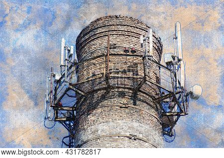 An Old Brick Factory Chimney With Various Antennas. A Variety Of Modern Antennas For The Internet An