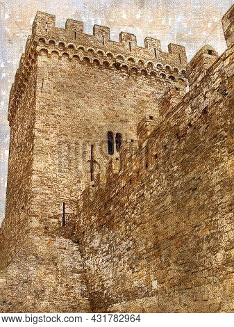 Impregnable Fortress Wall With A Watchtower. High Medieval Fortification Against The Sky. Tourism, A