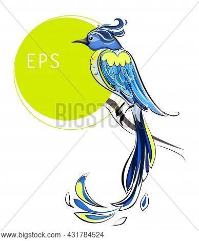 Blue Heaven Bird Vector Illustration Solated On White Background