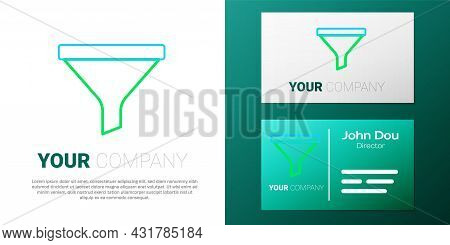 Line Funnel Or Filter Icon Isolated On White Background. Colorful Outline Concept. Vector