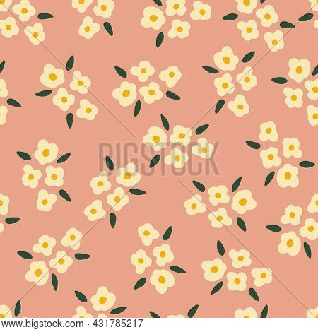 White Flowers On Rose Pink Seamless Vector Background. Repeating Floral Bouquet Pattern Simple Vinta